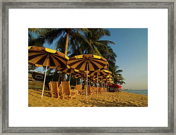 Private Beach With Sunshades And Chairs Framed Print