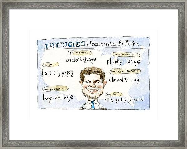 Pronunciation By Region Framed Print by Barry Blitt