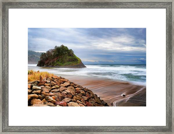 Framed Print featuring the photograph Proposal Rock On The Oregon Coast by Dee Browning