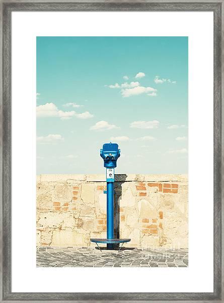 Public Binocular In Budapest Hungary Framed Print