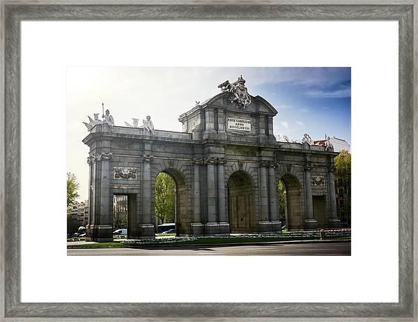 Puerta De Alcala In Madrid, Spain Framed Print