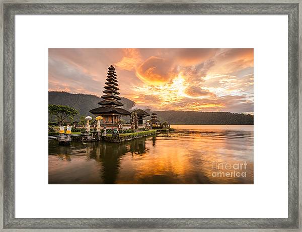Pura Ulun Danu Bratan, Hindu Temple On Framed Print