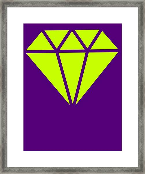 Purple Diamond Yellow Framed Print