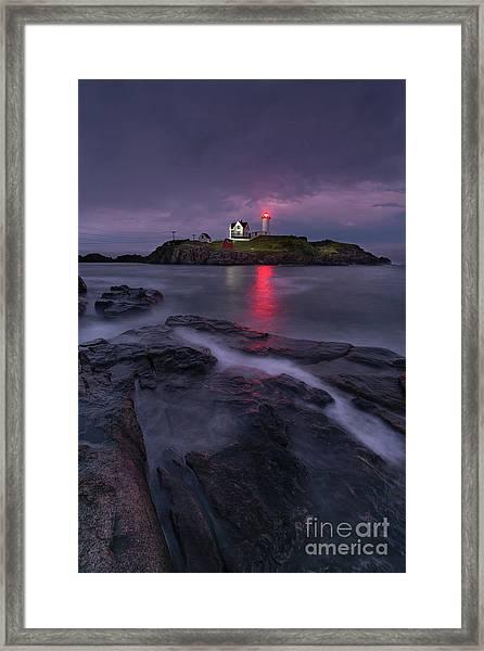 Purple Haze At Nubble Lighthouse Framed Print
