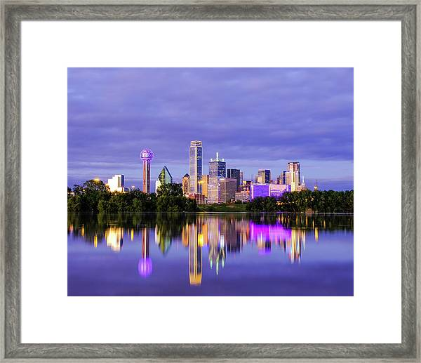 Purple Rain City Of Dallas Texas Framed Print