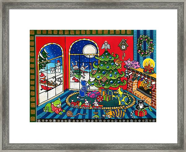Purrfect Christmas Cat Painting Framed Print