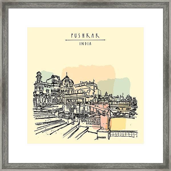 Pushkar, Rajasthan, India. Brahma Ghat Framed Print