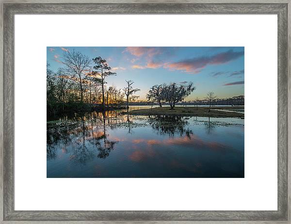 Quiet River Sunset Framed Print