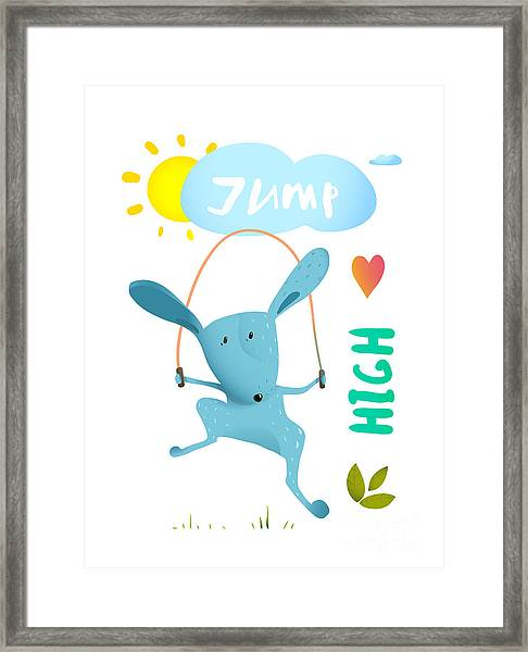 Rabbit Jumping Rope For Kids. Hare Framed Print