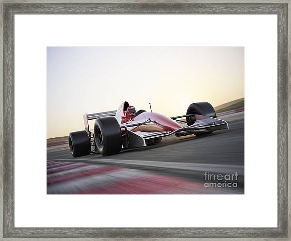 Race Car Racing On A Track With Motion Framed Print