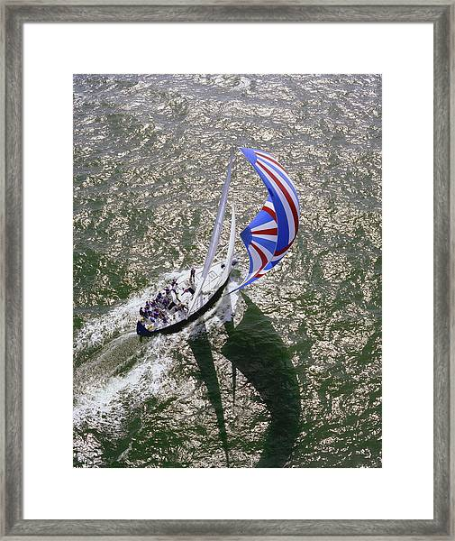 Racing Yacht During Sorc Races , Gulf Framed Print