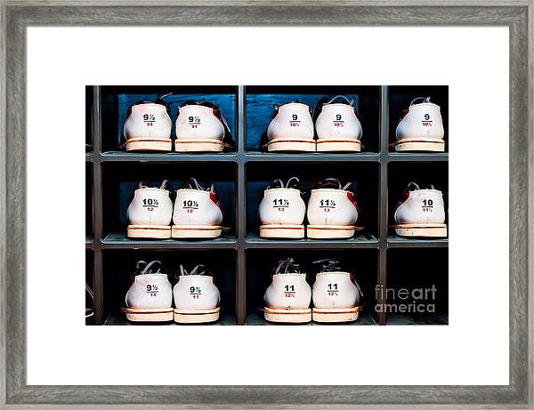 Rack With Shoes For Bowling In Framed Print