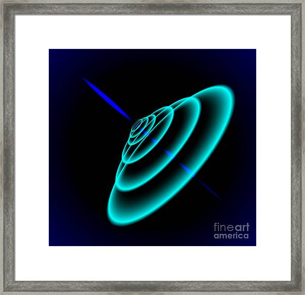 Radial Sonar Waves From Blue Ray In The Framed Print