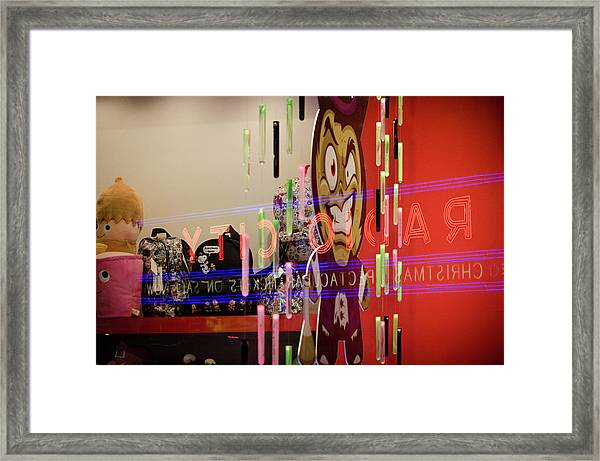 Framed Print featuring the photograph Radio City Reflection by Steve Stanger