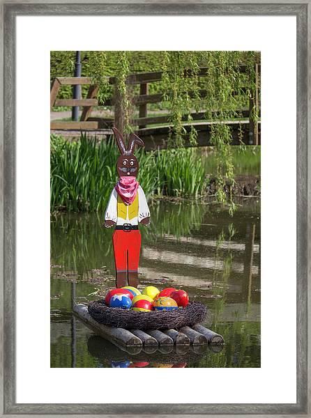 Rafting Easter Bunny Framed Print