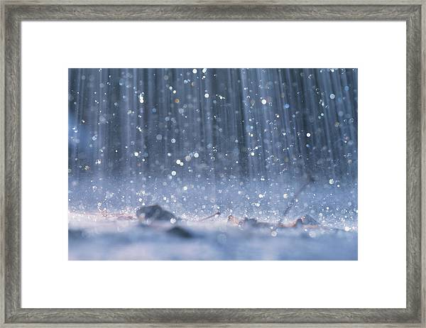Rain Falling On Ground by David De Lossy