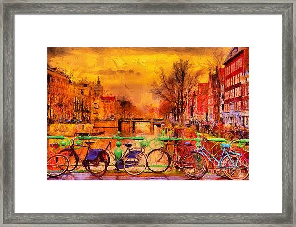Rain Over Amsterdam Canal Impressionist Framed Print