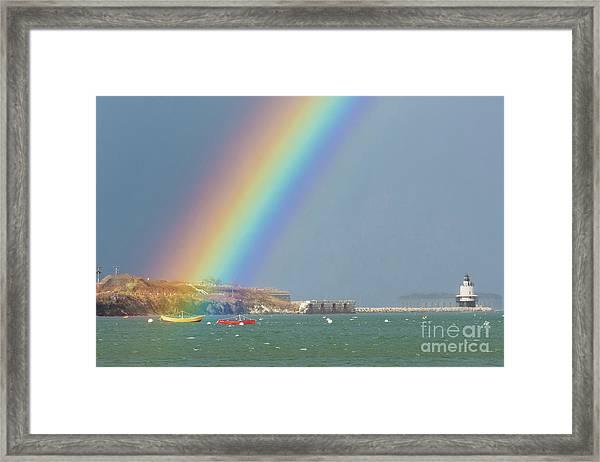 Rainbow At Spring Point Ledge Framed Print
