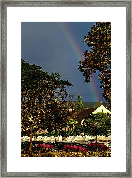 Rainbow Ended At The Church Framed Print