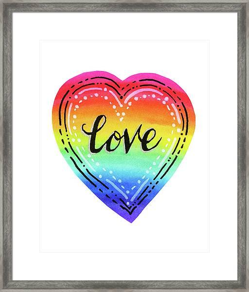 Rainbow Heart Love Framed Print
