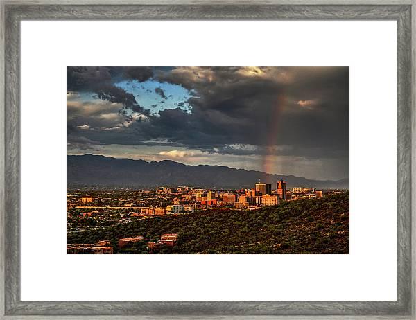 Rainbow Over Tucson Framed Print