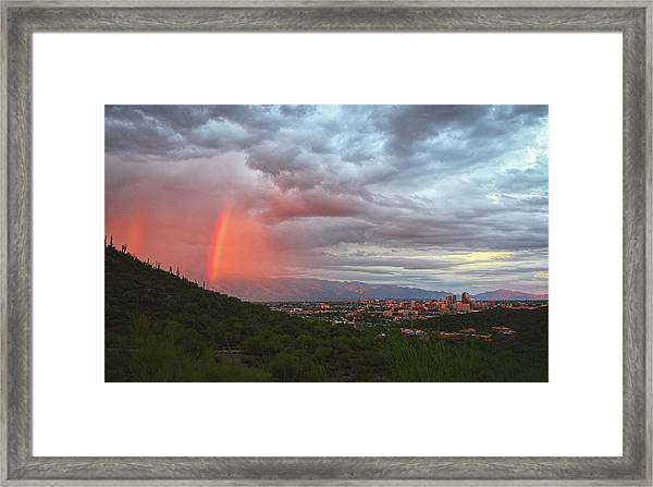 Rainbow Over Tucson Skyline Framed Print