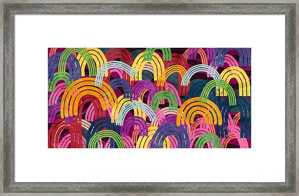 Rainbow Party- Art By Linda Woods Framed Print