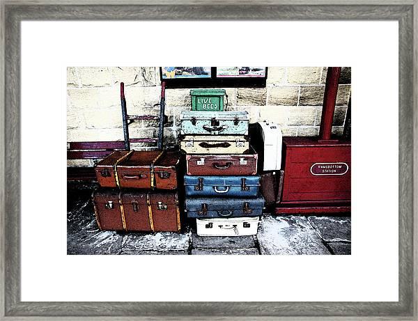 Ramsbottom.  Elr Railway Suitcases On The Platform. Framed Print