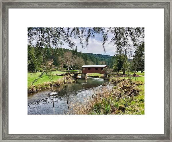 Ranch Hills Covered Bridge Framed Print