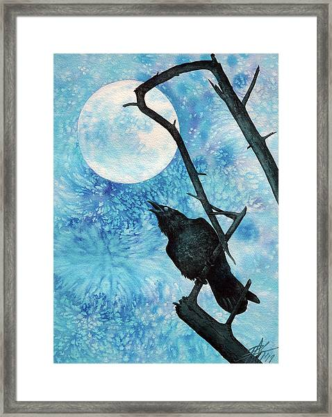 Raven With Torrey Pine Branch And Cold Moon Framed Print by Robin Street-Morris