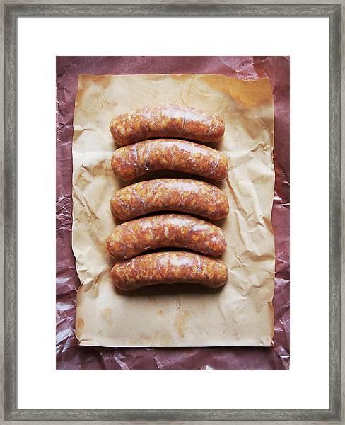Raw Italian Sausages Framed Print