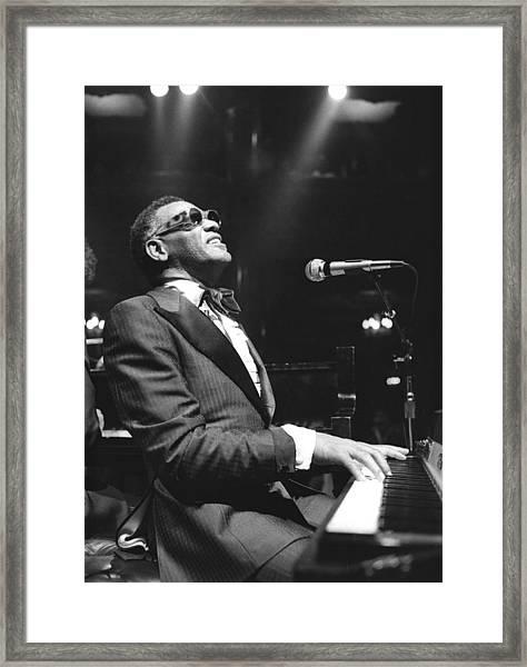 Ray Charles Performing Framed Print