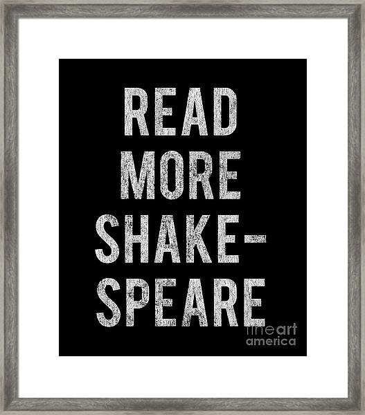 Framed Print featuring the digital art Read More Shakespeare Vintage by Flippin Sweet Gear