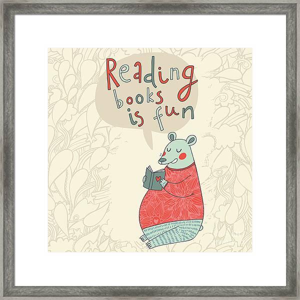 Reading Books Is Fun - Cartoon Stylish Framed Print