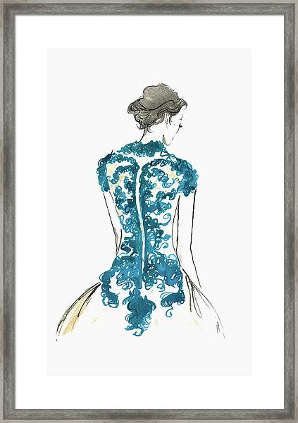 Rear View Of Elegant Woman Wearing Lace Framed Print