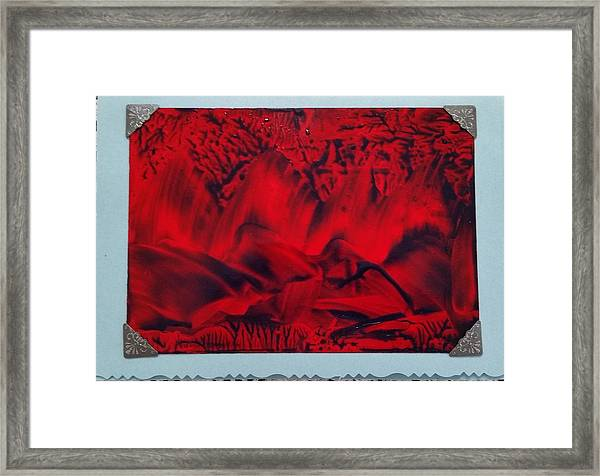 Red And Black Encaustic Abstract Framed Print