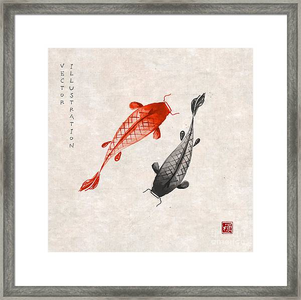 Red And Black Koi Carps Hand Drawn With Framed Print