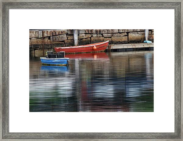 Red And Blue Row Boats On Rainy Day Framed Print by Adam Jones