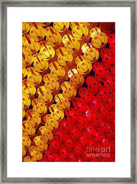 Red And Yellow Lanterns Hanging In Kek Framed Print by Tan Yoke Liang