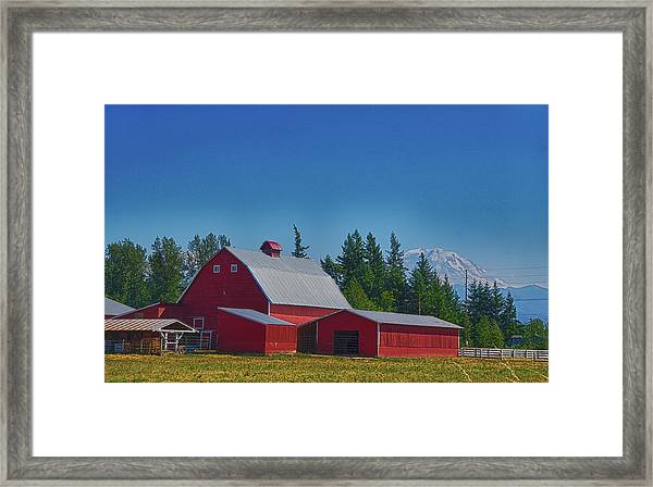 Red Barn With Mount Rainier Framed Print