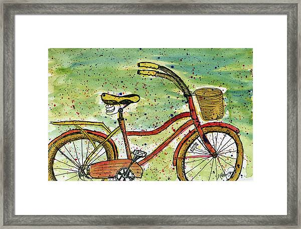 Red Bicycle Yellow Seat Framed Print
