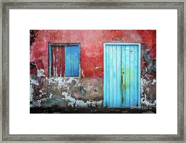 Red, Blue And Grey Wall, Door And Window Framed Print