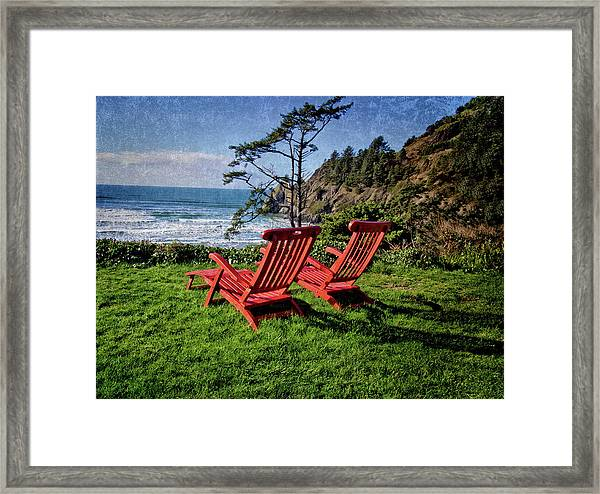 Red Chairs At Agate Beach Framed Print