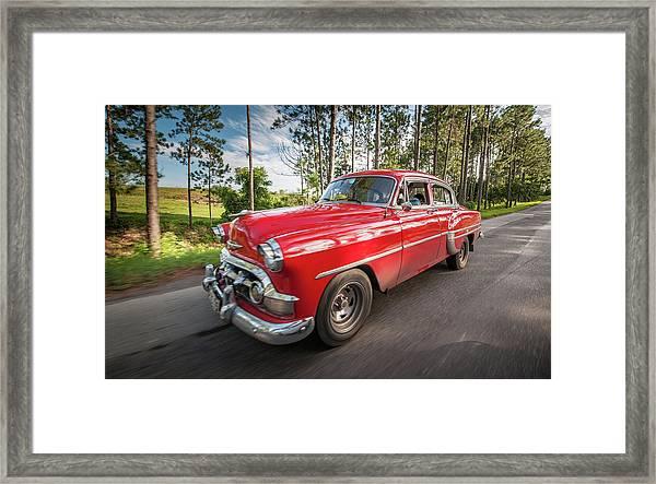 Red Classic Cuban Car Framed Print