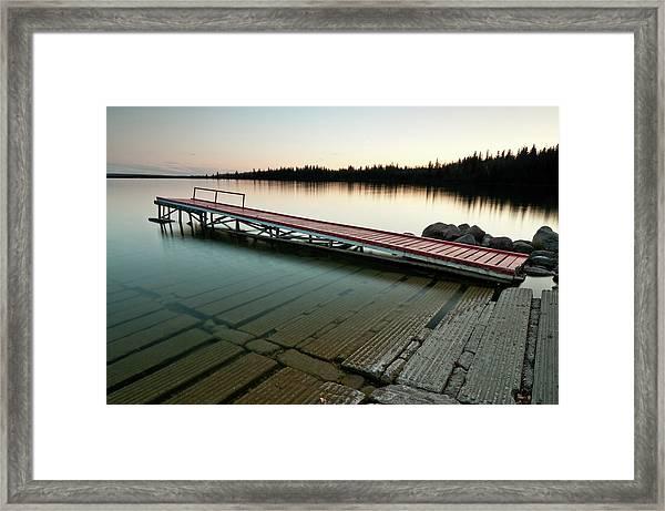 Red Dock At Sunset Framed Print