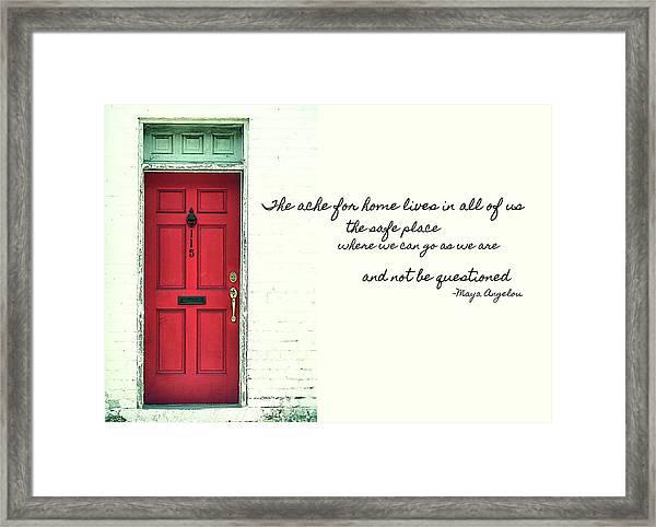 Red Door Quote Framed Print