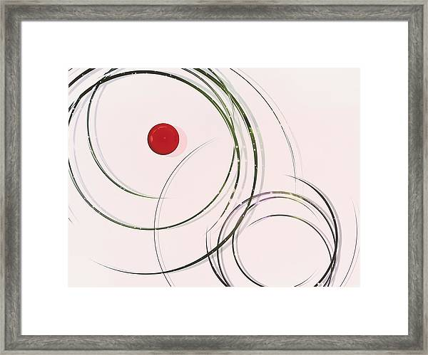 Red  Dot Within Circles Framed Print