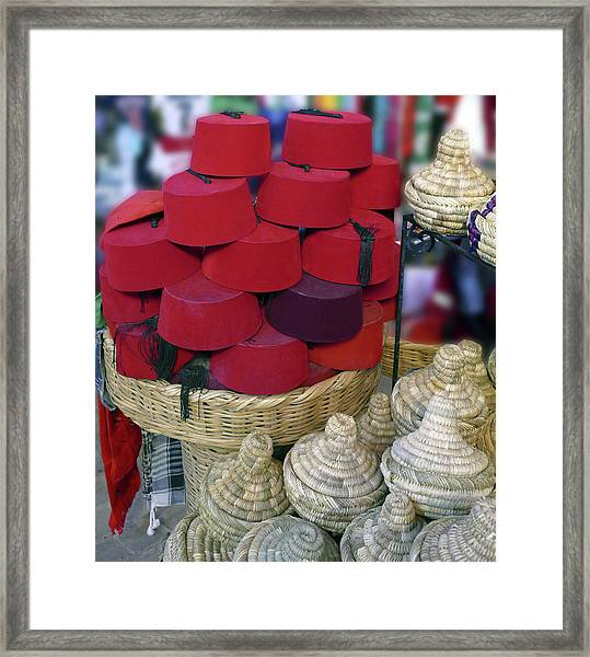 Red Fez Tarbouche And White Wicker Tagine Cookers Framed Print