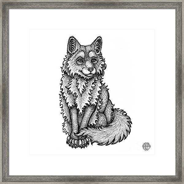 Framed Print featuring the drawing Red Fox by Amy E Fraser