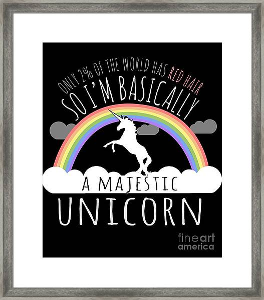 Red Hair Majestic Unicorn Funny Redhead Framed Print